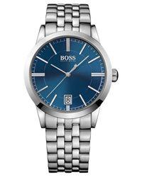 BOSS - Blue Men's Boss Black Stainless Steel Bracelet Watch 22mm 1513135 for Men - Lyst