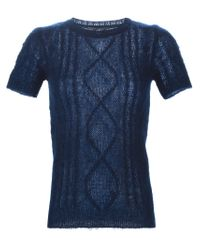 Ermanno Scervino - Blue Short Sleeve Cable Knit Sweater - Lyst