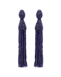 Oscar de la Renta | Blue Bright Navy Long Tassel Earrings | Lyst