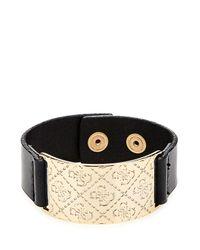 Guess | Black Winter Garden Logo Plate Bracelet | Lyst