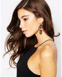 ASOS | Black Interlocking Rings Earrings | Lyst