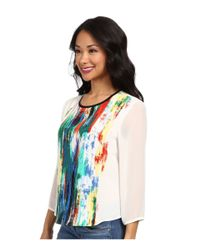Vince Camuto - Green Long Sleeve Artistic Composition Crew Neck Blouse - Lyst