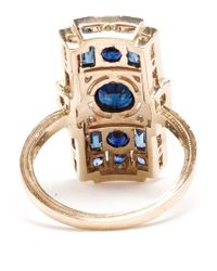 Sabine G - Blue 18Kt White Gold Diamond And Sapphire Rectangle Ring - Lyst