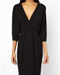 ASOS - Black Batwing Open Back Pleat Dress - Lyst