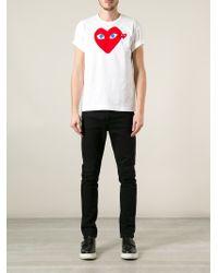 Play Comme des Garçons - White Printed Heart T-Shirt for Men - Lyst
