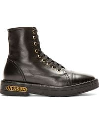 Versus | Black Leather Ankle_high Boot for Men | Lyst