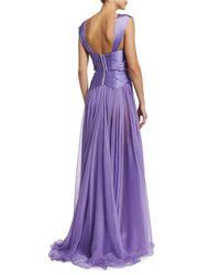 Maria Lucia Hohan - Purple Zanzibar Sweetheart-neck Pleated Silk Gown - Lyst