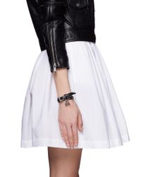Alexander McQueen - Black Double Wrap Skull Charm Stud Leather Bracelet - Lyst