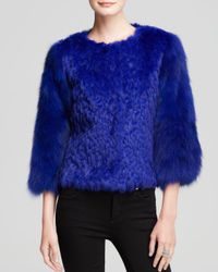 Maximilian | Blue Embroidered Rabbit Fur Jacket With Fox Fur Sleeves | Lyst