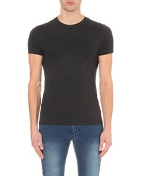 Armani Jeans | Gray Tonal Logo Cotton-jersey T-shirt for Men | Lyst