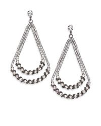 ABS By Allen Schwartz | Metallic Dark & Stormy Double Teardrop Earrings | Lyst