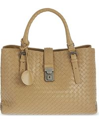 Bottega Veneta | Natural Roma Intrecciato Medium Leather Tote | Lyst
