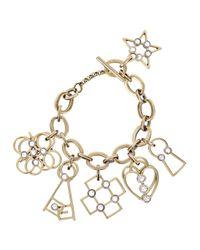 Lanvin | Metallic Gold Tone Charm Bracelet | Lyst