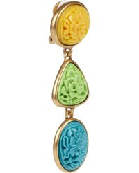 Oscar de la Renta | Multicolor 24karat Gold-Plated Carved Cabochon Clip Earrings | Lyst