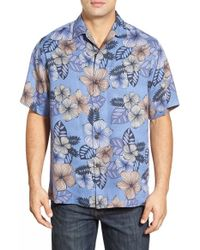 Tommy Bahama | Black 'block Party Blossom' Island Modern Fit Silk Camp Shirt for Men | Lyst