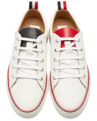 Thom Browne - White Leather Low-top Sneakers for Men - Lyst