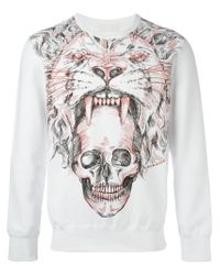 Alexander McQueen - White Tiger Skull Print Sweatshirt for Men - Lyst
