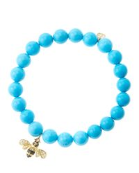 Sydney Evan | Blue 8Mm Turquoise Beaded Bracelet With 14K Gold/Diamond Bee Charm (Made To Order) | Lyst