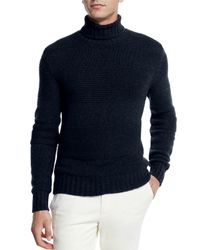 Loro Piana - Blue Textured Baby Cashmere Turtleneck Sweater for Men - Lyst