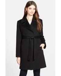 Fleurette Notch Collar Lightweight Cashmere Wrap Coat in Black | Lyst
