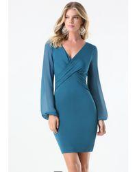 Bebe | Blue Dahlia Sheer Sleeve Dress | Lyst