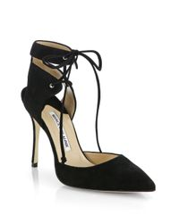 Manolo Blahnik Black Lara Suede Ankle-Wrap Pumps