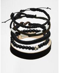 ASOS | Black Leather Bracelet Pack for Men | Lyst