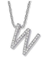 Amanda Rose Collection - Metallic Diamond Initial W Pendant Set In 14k White Gold - Lyst