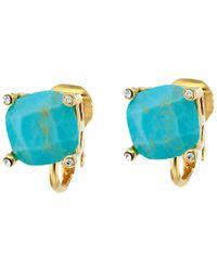 Lauren by Ralph Lauren | Blue Color Mingle Faceted Stone Stud Clip Earrings | Lyst