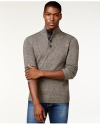 Sean John | Gray Twist-yarn Button-neck Sweater for Men | Lyst