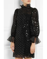Dolce & Gabbana - Black Sequined Macramé Lace Mini Dress - Lyst