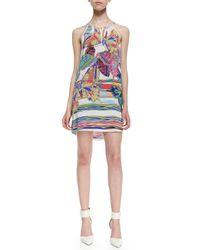 Amanda Uprichard - White Butterfly Print Chain Threaded Halter Dress  - Lyst