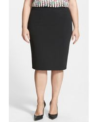 Halogen | Black Zip Back Knit Pencil Skirt | Lyst