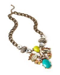 Forever 21 | Metallic Lacquered Faux Gemstone Necklace | Lyst