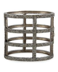 Bavna | Metallic Sterling Silver & Diamond Cage Bracelet | Lyst