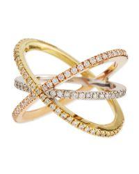 Roberto Coin - Yellow 18k Tricolor Gold Diamond Double-crisscross Ring - Lyst