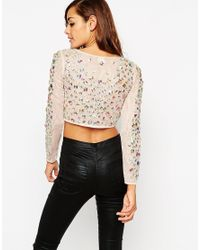 ASOS   Pink Iridescent Sparkle Long Sleeve Top   Lyst