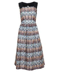 N°21 - Natural Printed Lace Dress With Bow Back - Lyst