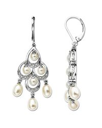 Lord & Taylor | Metallic Pearl And Diamond-accented Chandelier Earrings In Sterling Silver | Lyst