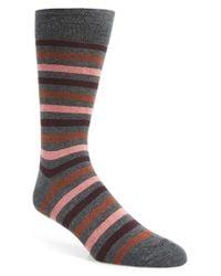 Etiquette - Gray 'crosswalk' Stripe Socks for Men - Lyst