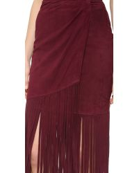 Tamara Mellon - Purple Layered Fringe Silk Skirt - Lyst