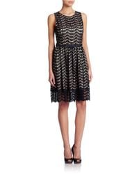 Eliza J | Black Belted Lace Fit And Flare Dress | Lyst