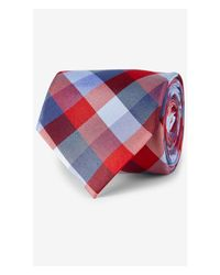 Express | Narrow Tie - Check Eastern Red for Men | Lyst