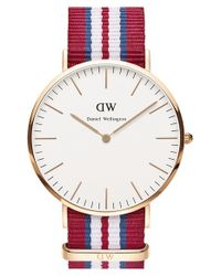 Daniel Wellington | Red 'classic Exeter' Nato Strap Watch | Lyst