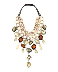 Sam Edelman - Metallic Golden Epoxy Stone Bib Necklace - Lyst