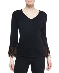 Neiman Marcus - Black Cashmere V-neck Sweater W/ Suede Fringe Detail - Lyst