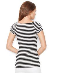 Lauren by Ralph Lauren | Black Petite Striped Ballet-neck Shirt | Lyst
