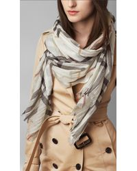 Burberry - White Lightweight Check Wool And Silk Scarf - Lyst