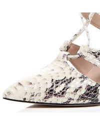 River Island - Metallic Cream Snake Print Lace-up Heels - Lyst