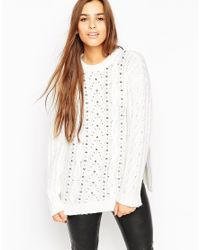 ASOS | Natural Oversized Cable Jumper With Stud Detail | Lyst